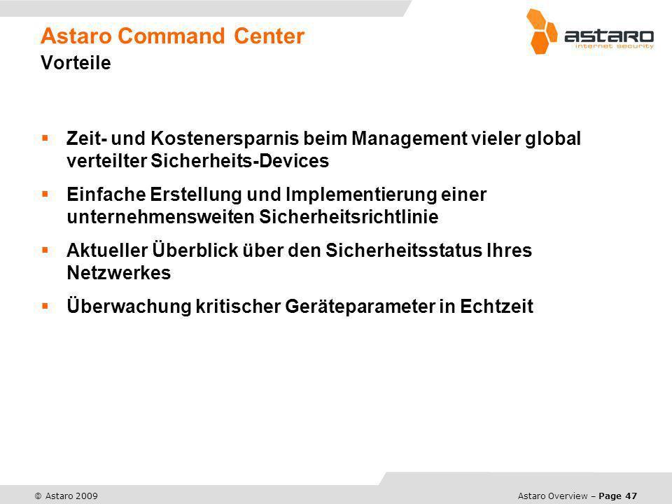 Astaro Command Center Vorteile