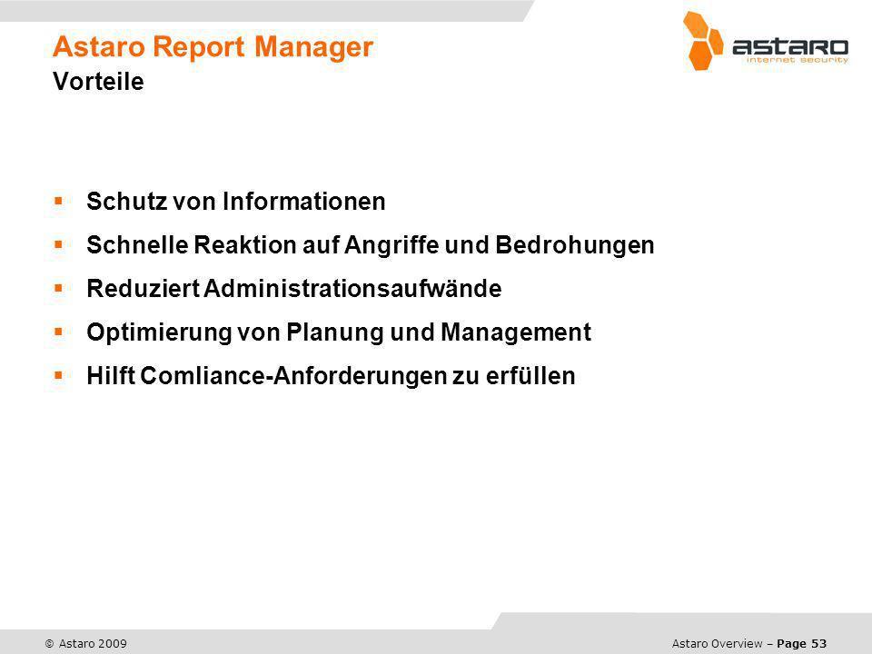Astaro Report Manager Vorteile
