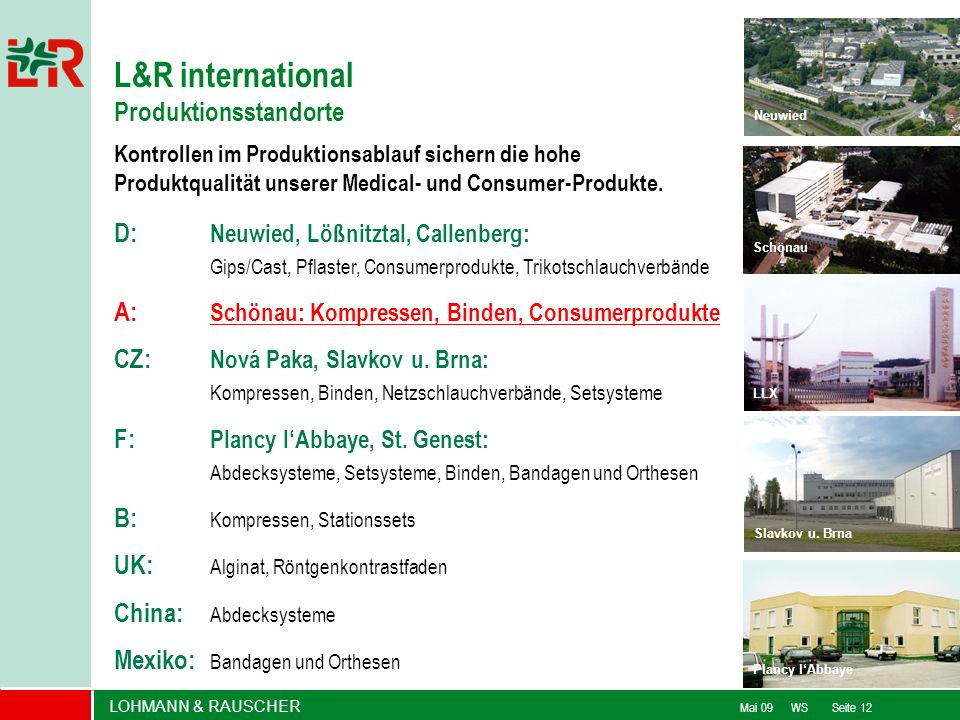 L&R international Produktionsstandorte