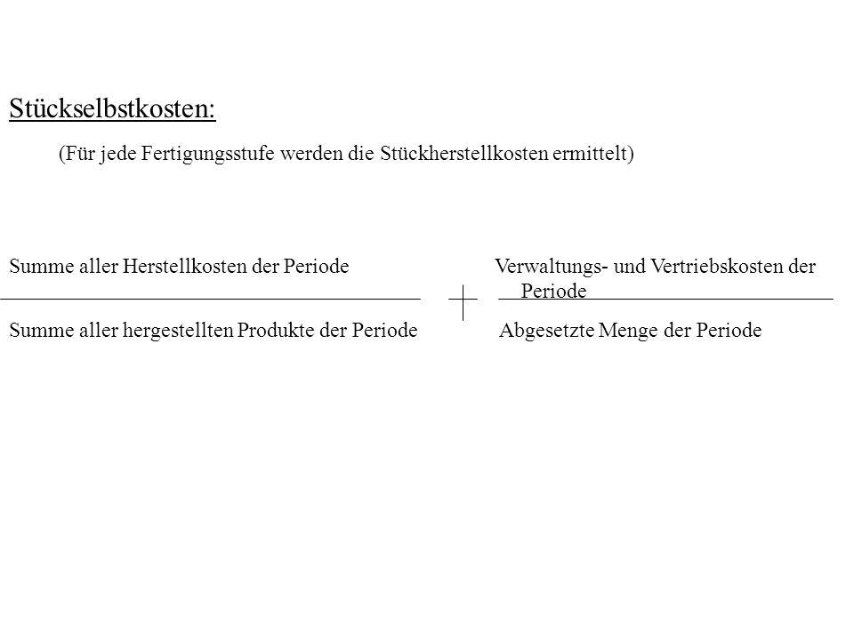 Stückselbstkosten: Summe aller Herstellkosten der Periode Verwaltungs- und Vertriebskosten der Periode.
