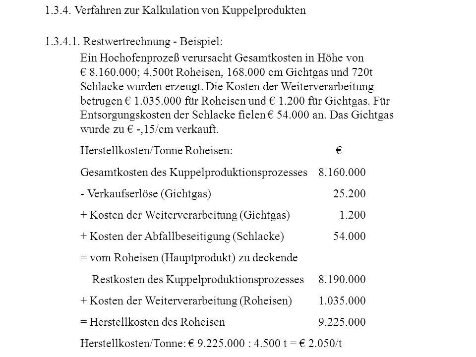 1.3.4. Verfahren zur Kalkulation von Kuppelprodukten