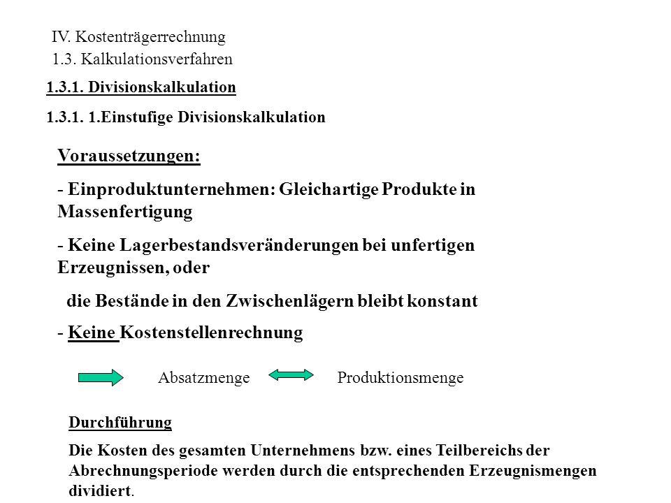 - Einproduktunternehmen: Gleichartige Produkte in Massenfertigung