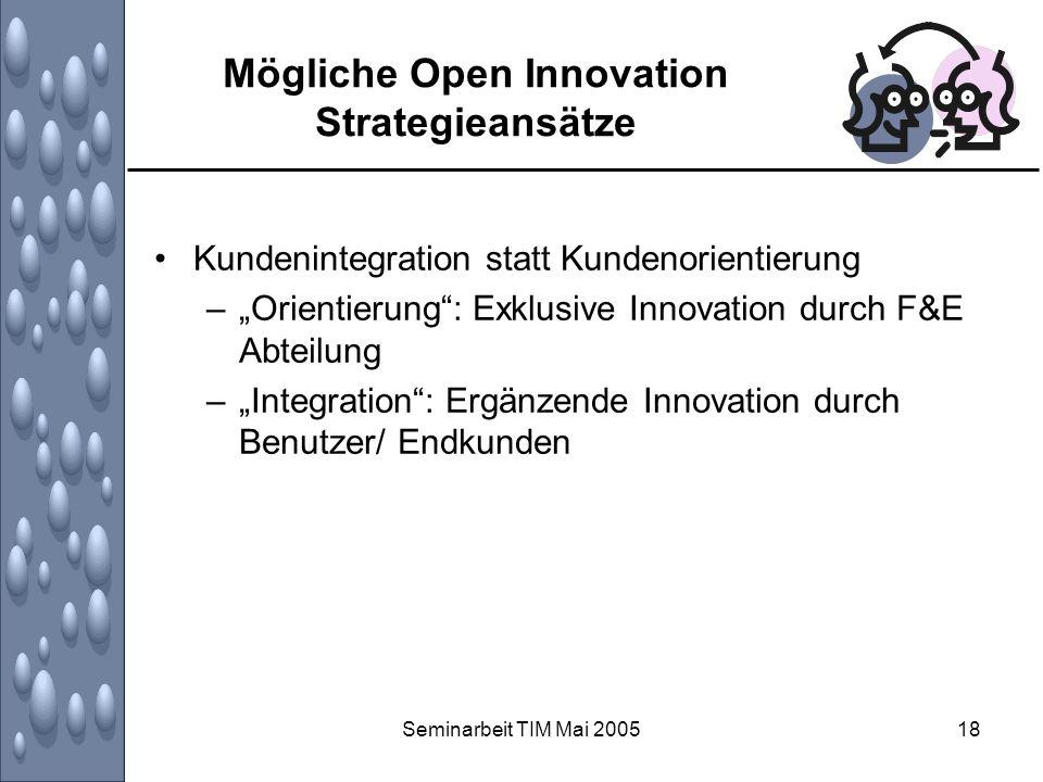 Mögliche Open Innovation Strategieansätze
