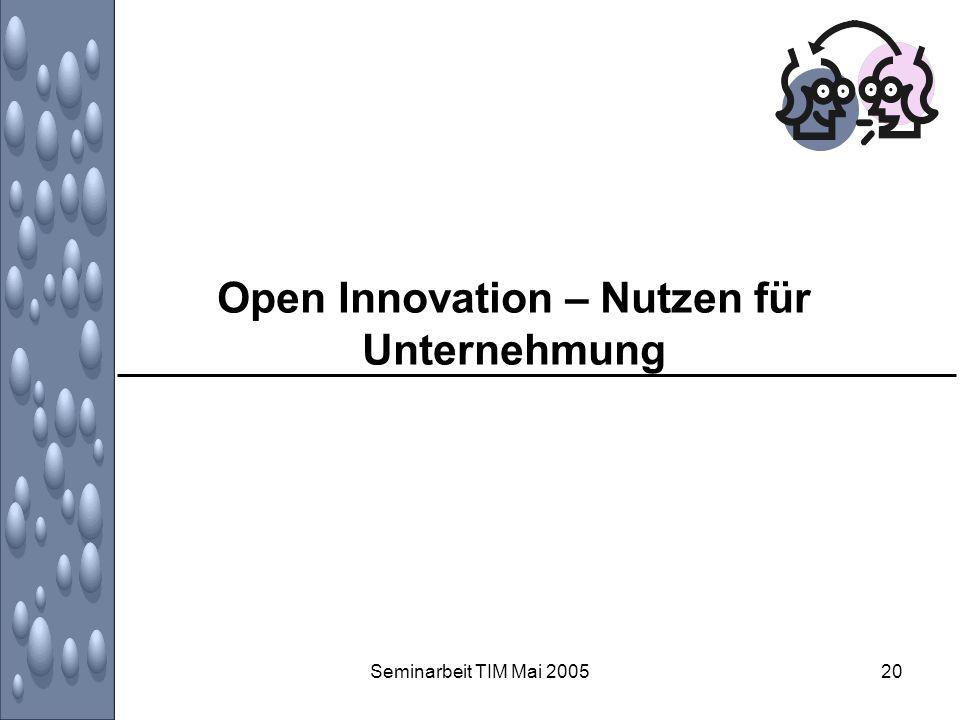 Open Innovation – Nutzen für Unternehmung