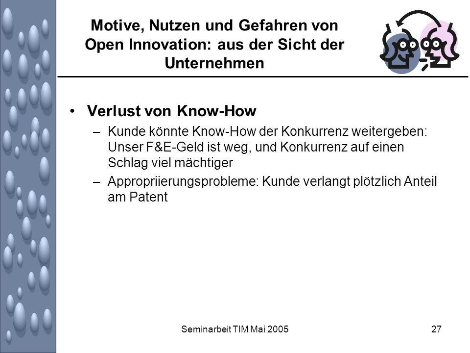 Motive, Nutzen und Gefahren von Open Innovation: aus der Sicht der Unternehmen