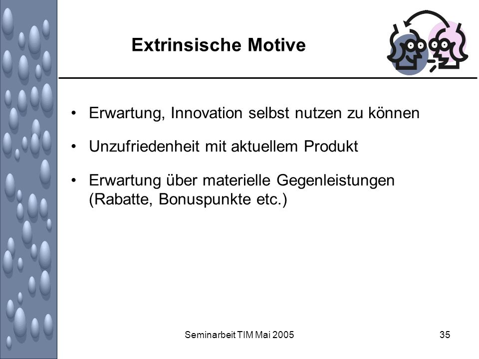 Extrinsische Motive Erwartung, Innovation selbst nutzen zu können