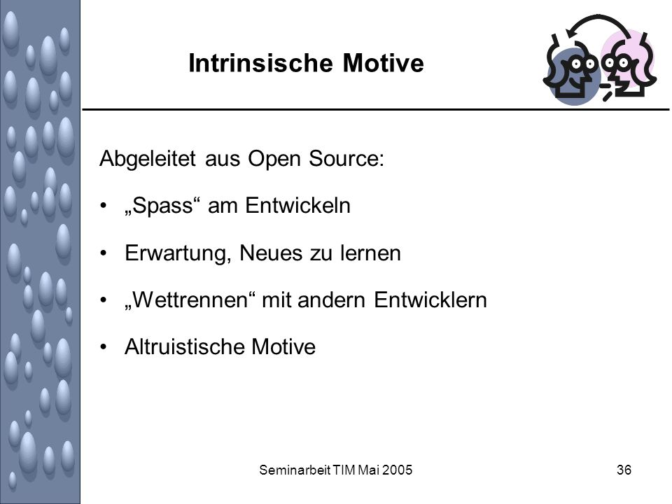 """Intrinsische Motive Abgeleitet aus Open Source: """"Spass am Entwickeln"""