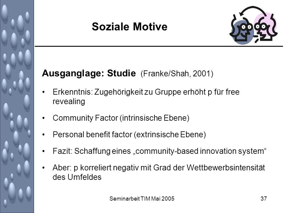 Soziale Motive Ausganglage: Studie (Franke/Shah, 2001)