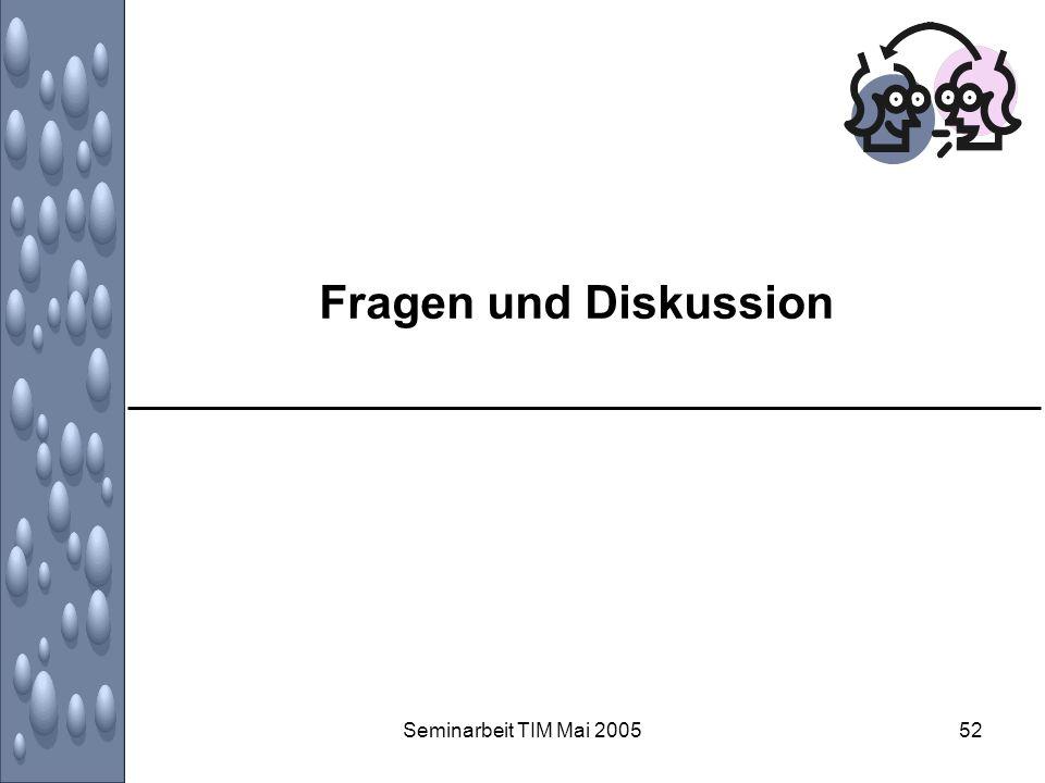 Fragen und Diskussion Seminarbeit TIM Mai 2005