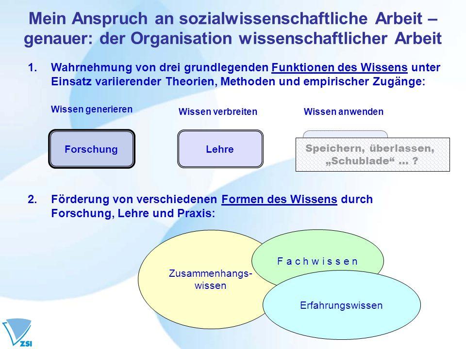 Mein Anspruch an sozialwissenschaftliche Arbeit – genauer: der Organisation wissenschaftlicher Arbeit