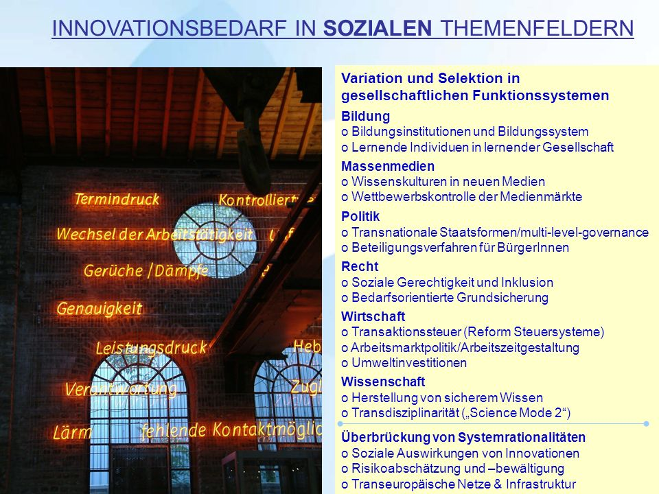 INNOVATIONSBEDARF IN SOZIALEN THEMENFELDERN