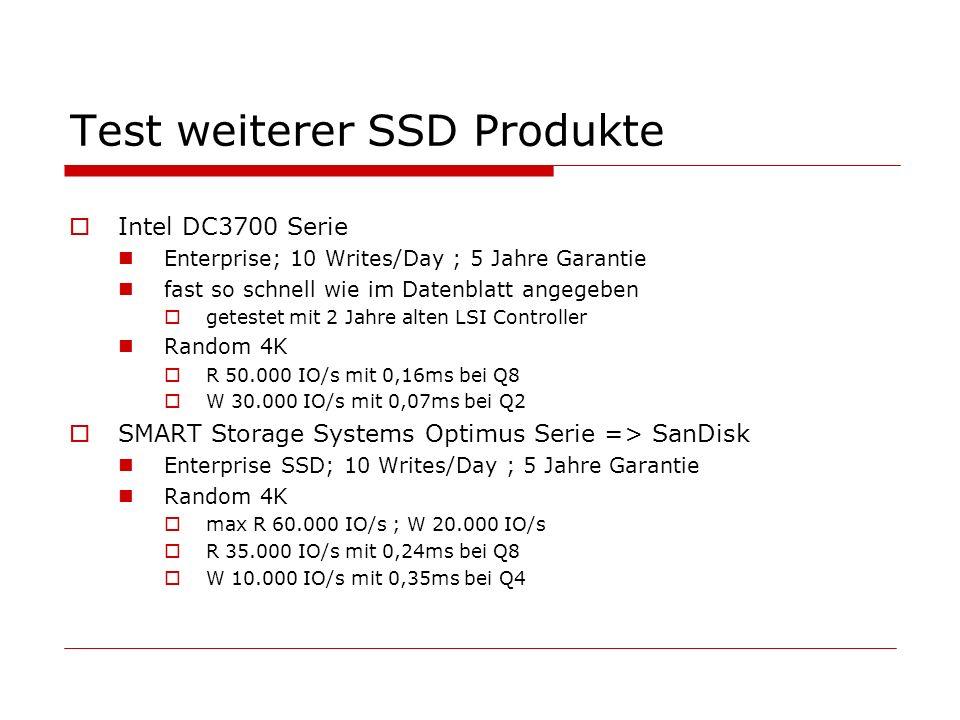 Test weiterer SSD Produkte