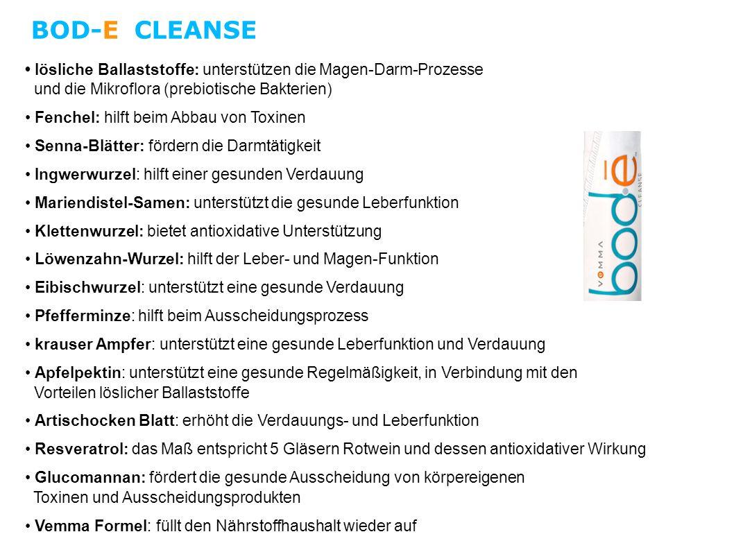 BOD-E CLEANSE • lösliche Ballaststoffe: unterstützen die Magen-Darm-Prozesse und die Mikroflora (prebiotische Bakterien)