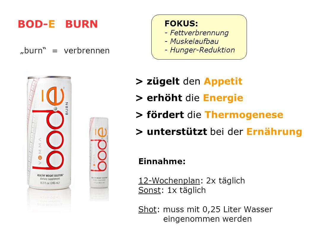BOD-E BURN > zügelt den Appetit > erhöht die Energie