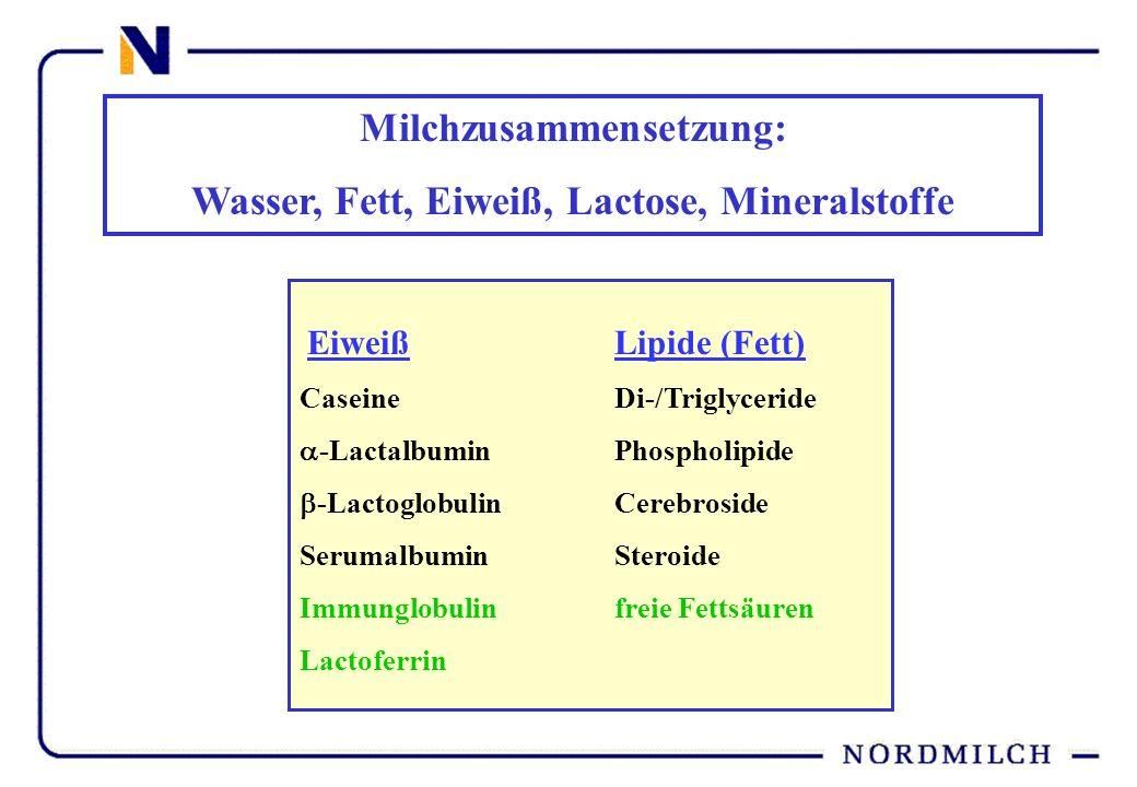 Milchzusammensetzung: Wasser, Fett, Eiweiß, Lactose, Mineralstoffe