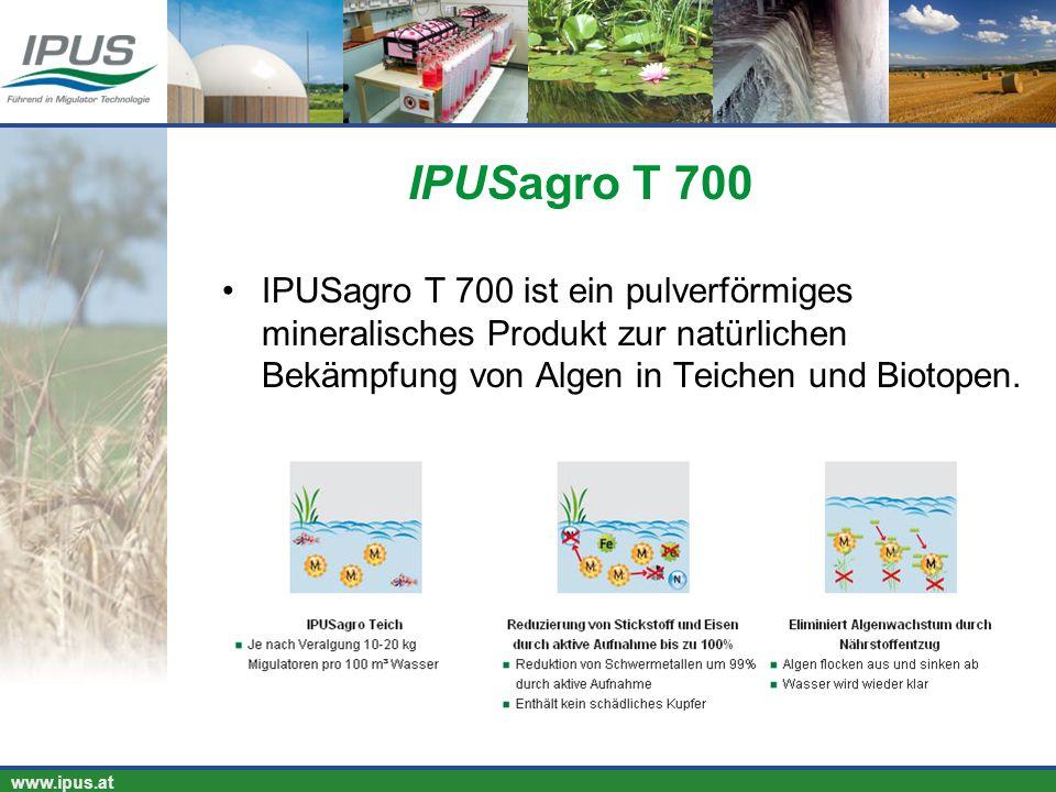 IPUSagro T 700 IPUSagro T 700 ist ein pulverförmiges mineralisches Produkt zur natürlichen Bekämpfung von Algen in Teichen und Biotopen.