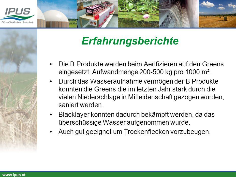 Erfahrungsberichte Die B Produkte werden beim Aerifizieren auf den Greens eingesetzt. Aufwandmenge 200-500 kg pro 1000 m².