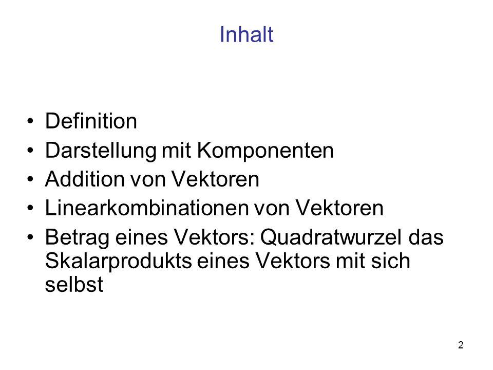 Inhalt Definition. Darstellung mit Komponenten. Addition von Vektoren. Linearkombinationen von Vektoren.