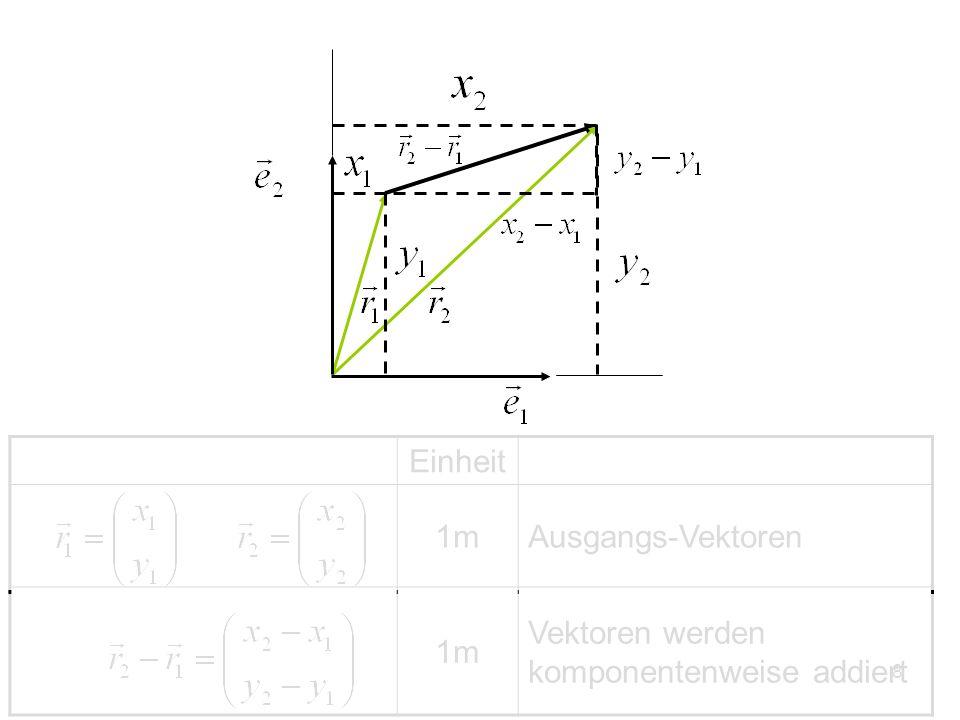 Einheit 1m Ausgangs-Vektoren Vektoren werden komponentenweise addiert