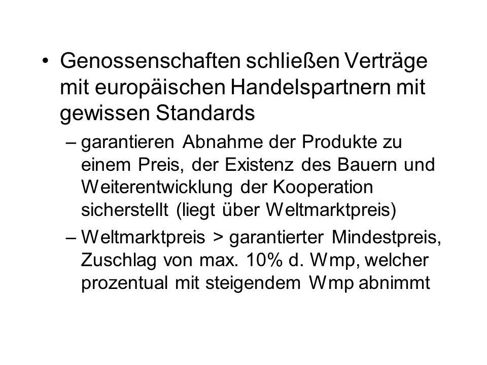 Genossenschaften schließen Verträge mit europäischen Handelspartnern mit gewissen Standards