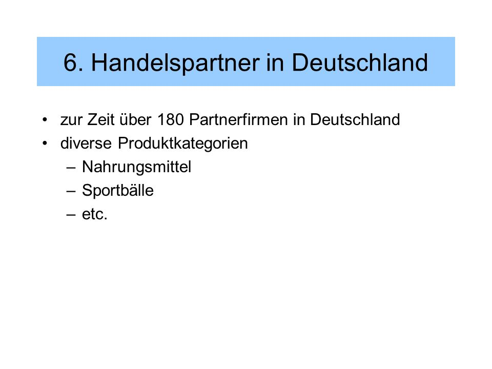 6. Handelspartner in Deutschland
