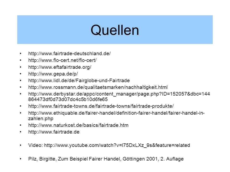 Quellen http://www.fairtrade-deutschland.de/