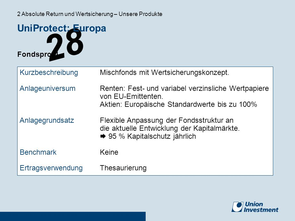 UniProtect: Europa Fondsprofil