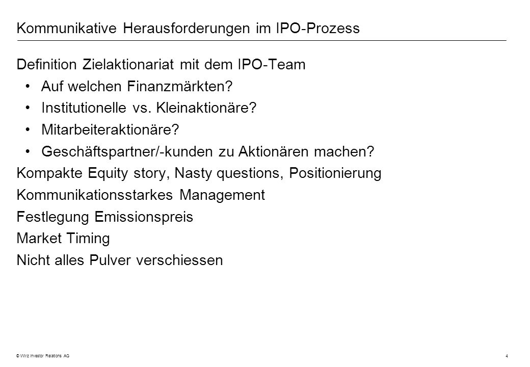 Kommunikative Herausforderungen im IPO-Prozess