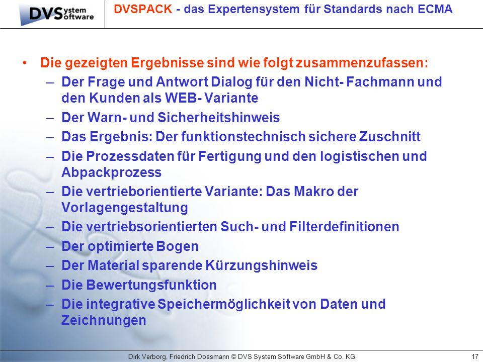 DVSPACK - das Expertensystem für Standards nach ECMA