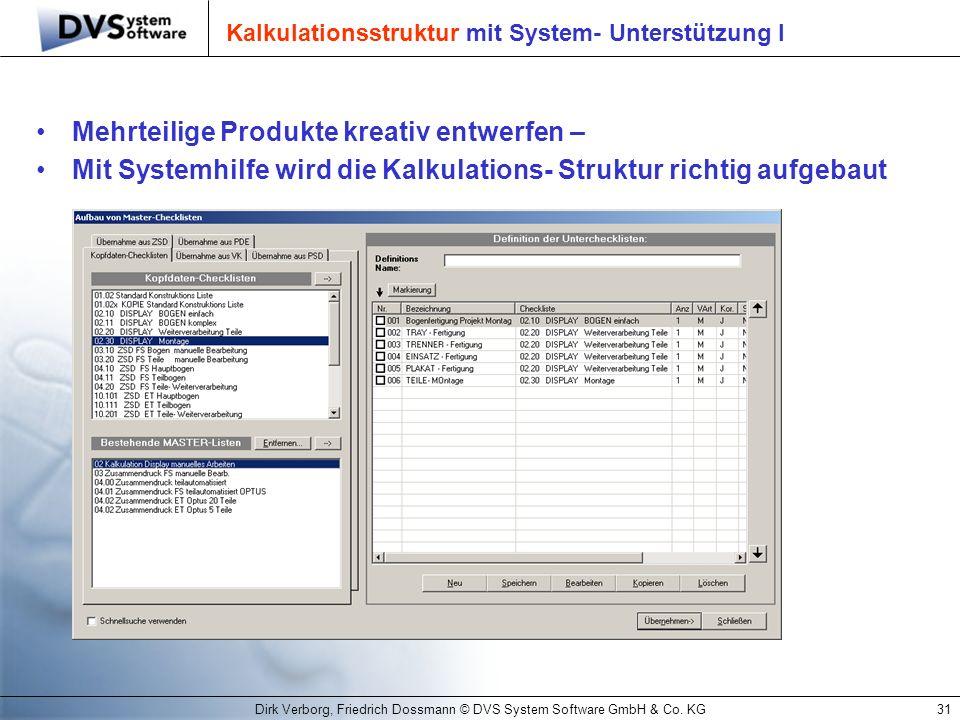 Kalkulationsstruktur mit System- Unterstützung I
