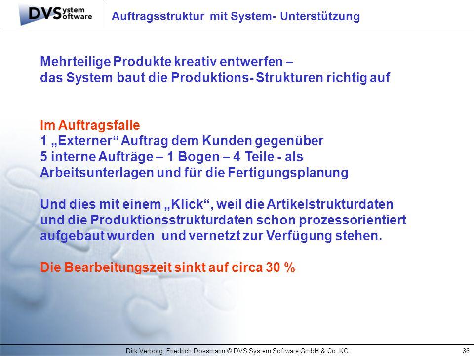 Auftragsstruktur mit System- Unterstützung