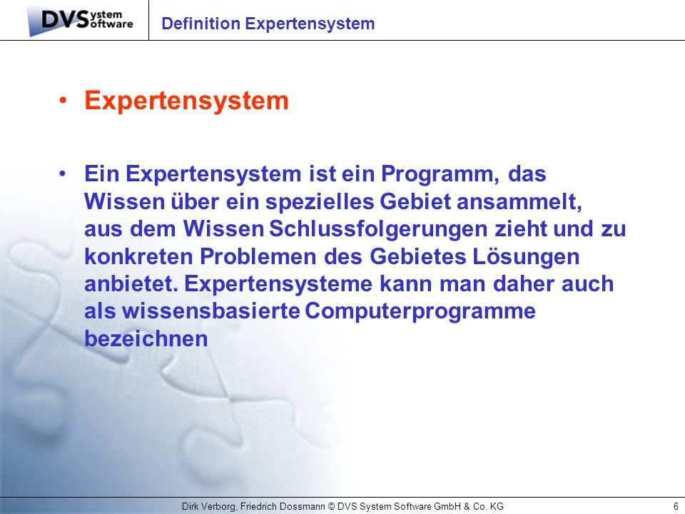 Definition Expertensystem