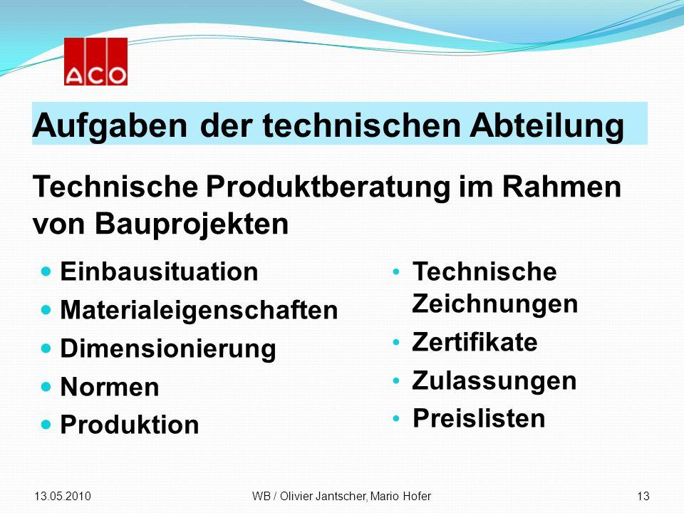 Aufgaben der technischen Abteilung