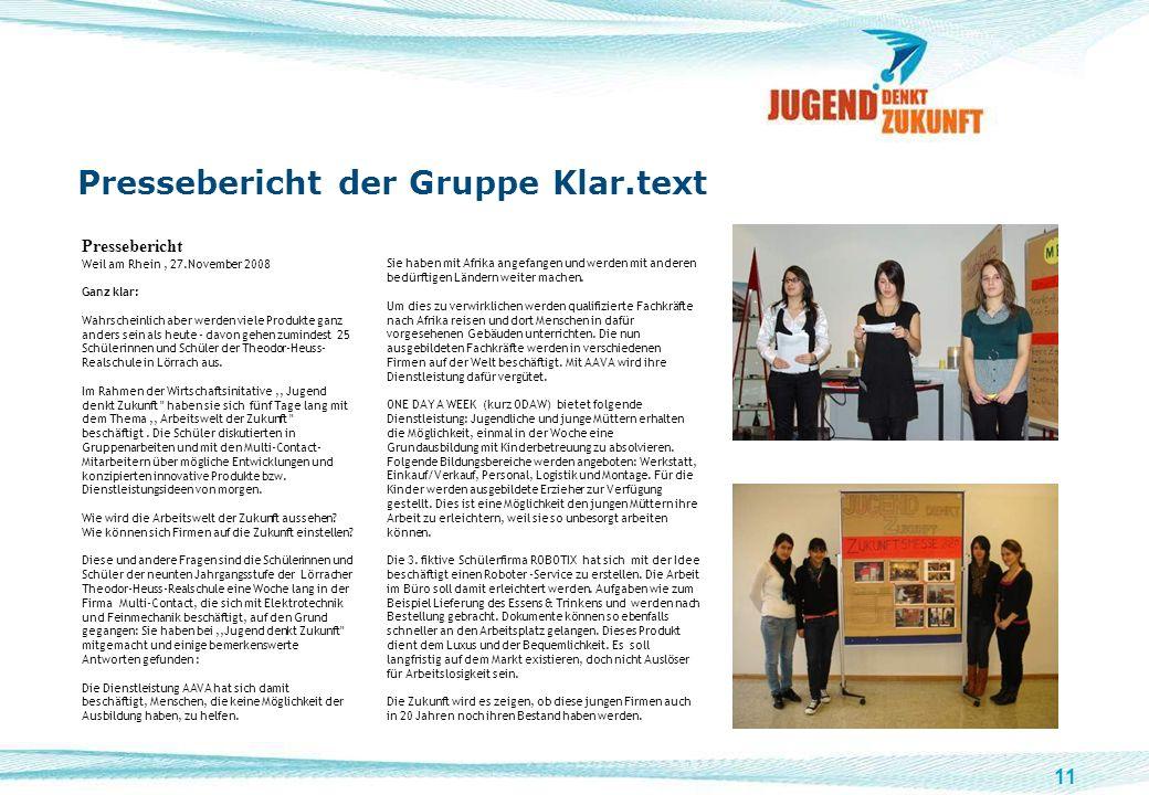 Pressebericht der Gruppe Klar.text