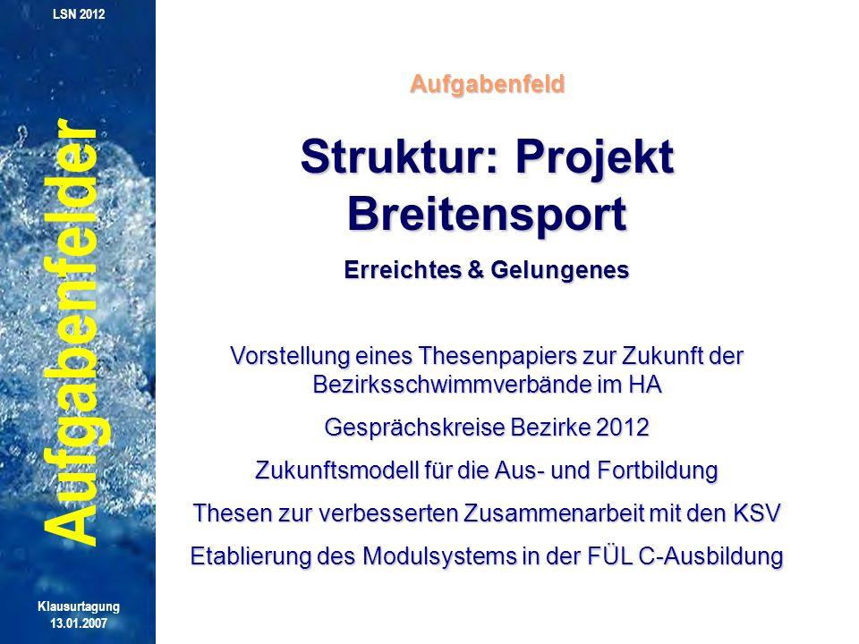 Struktur: Projekt Breitensport Erreichtes & Gelungenes