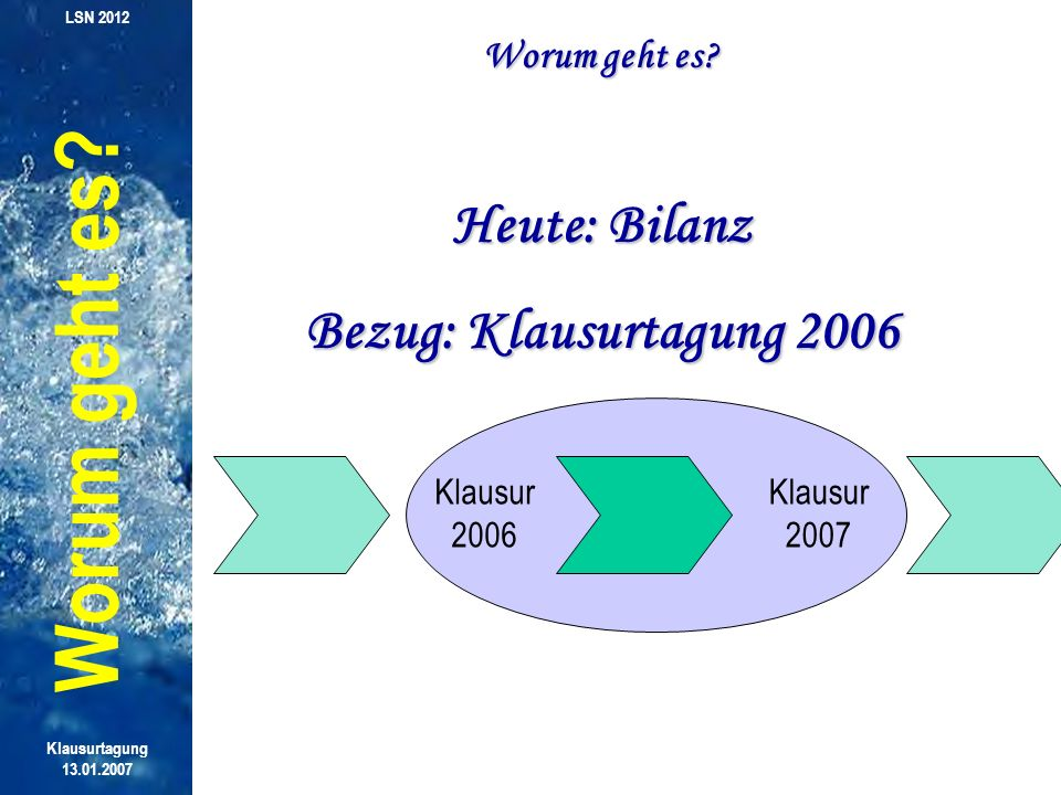 Worum geht es Heute: Bilanz Bezug: Klausurtagung 2006 Worum geht es