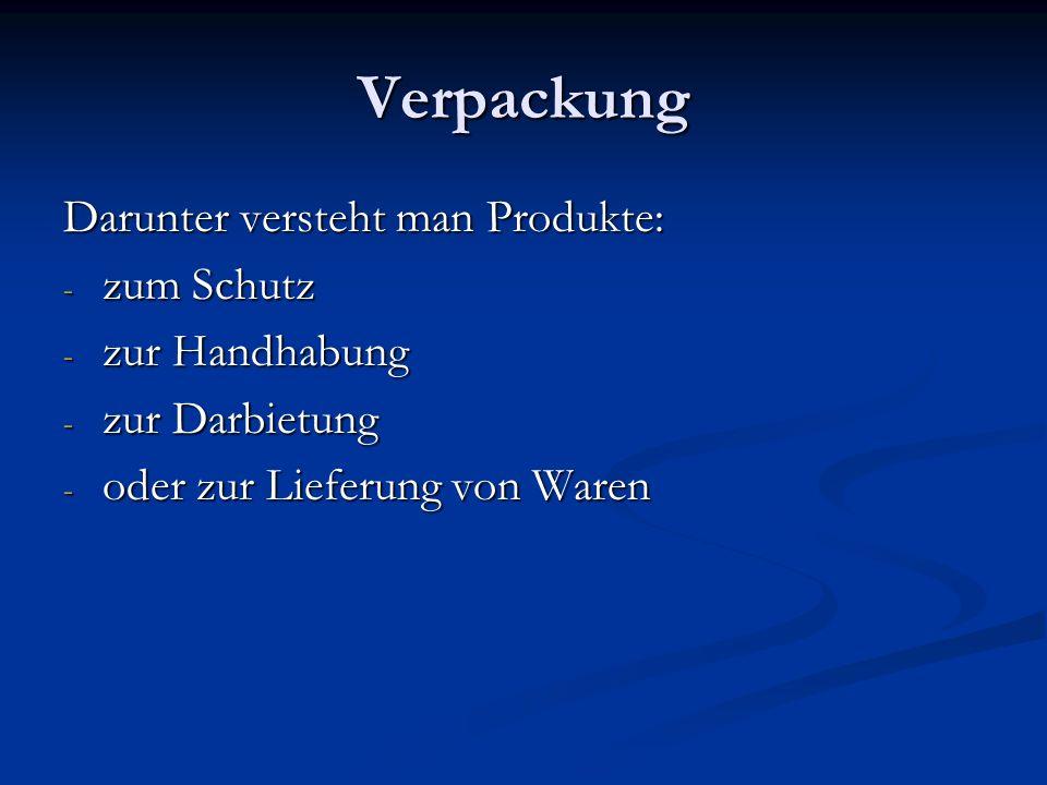 Verpackung Darunter versteht man Produkte: zum Schutz zur Handhabung