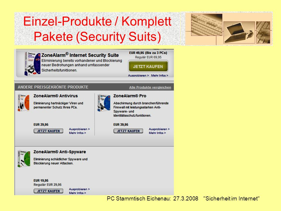 Einzel-Produkte / Komplett Pakete (Security Suits)
