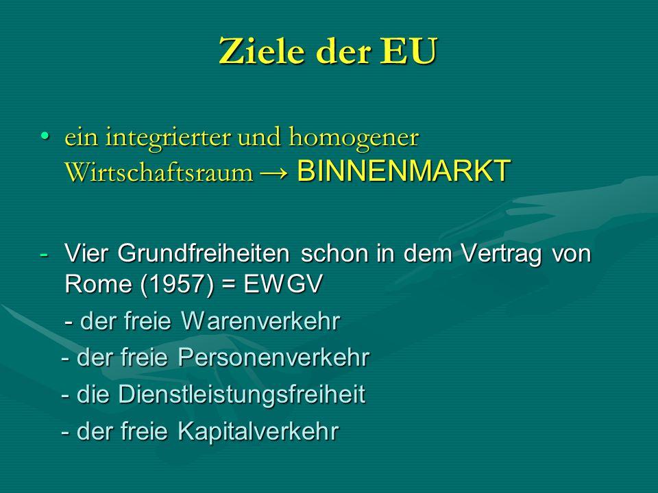 Ziele der EU ein integrierter und homogener Wirtschaftsraum → BINNENMARKT. Vier Grundfreiheiten schon in dem Vertrag von Rome (1957) = EWGV.