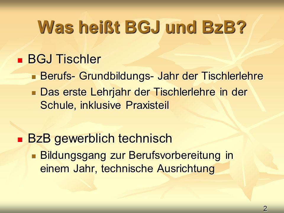 Was heißt BGJ und BzB BGJ Tischler BzB gewerblich technisch