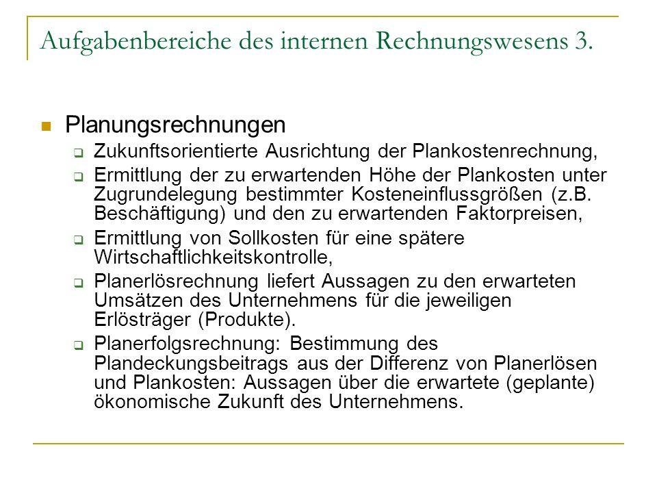 Aufgabenbereiche des internen Rechnungswesens 3.