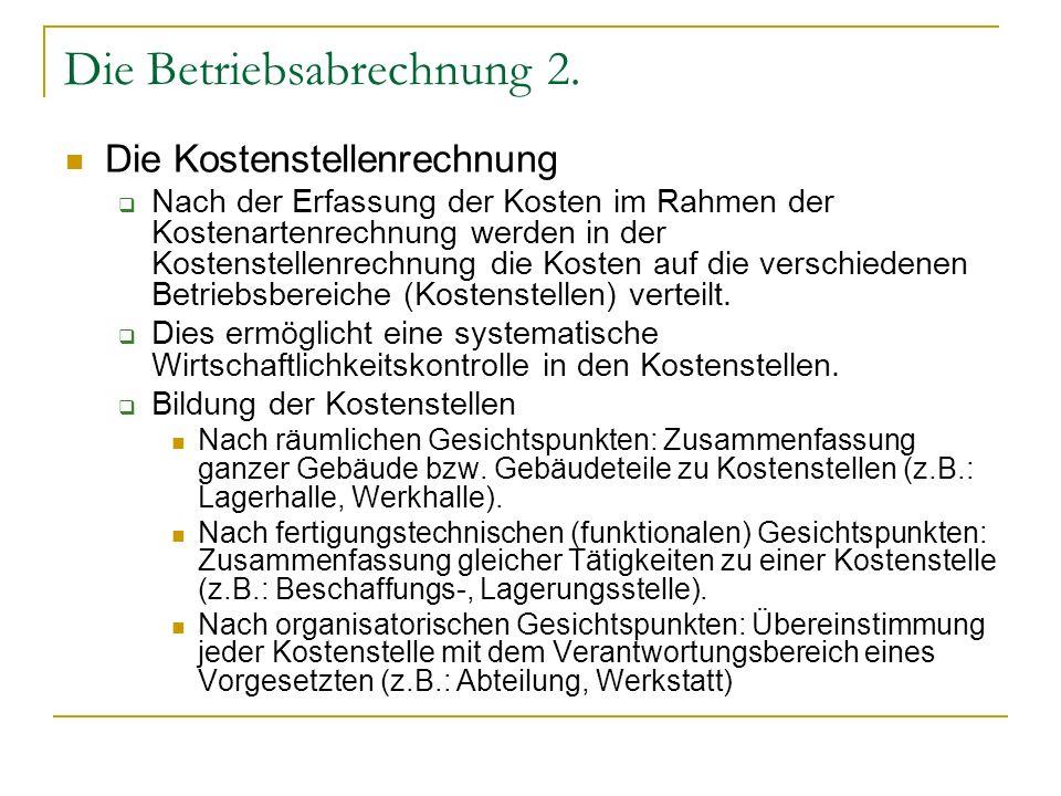 Die Betriebsabrechnung 2.