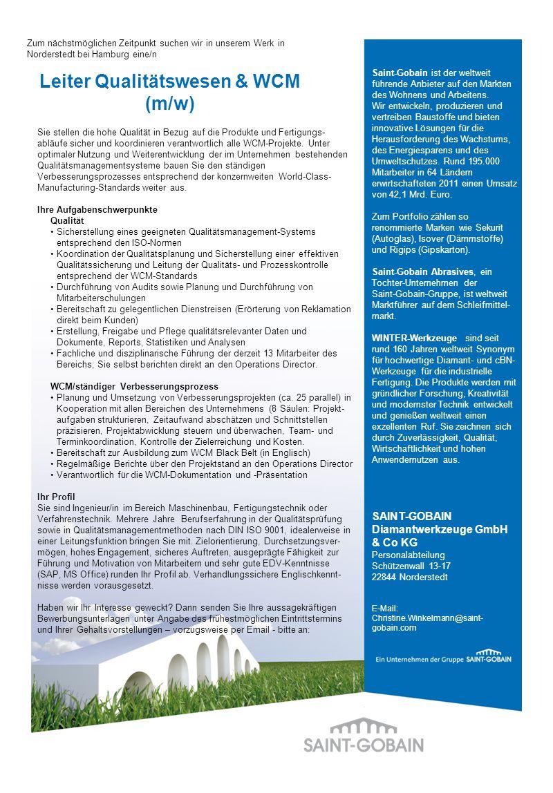 Leiter Qualitätswesen & WCM (m/w)