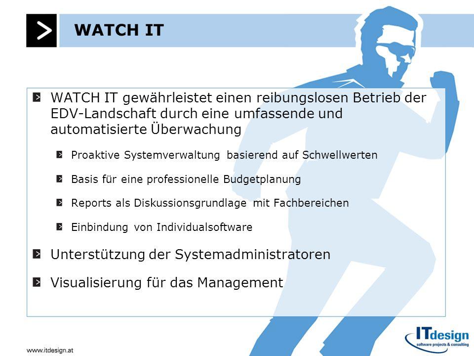 WATCH IT WATCH IT gewährleistet einen reibungslosen Betrieb der EDV-Landschaft durch eine umfassende und automatisierte Überwachung.