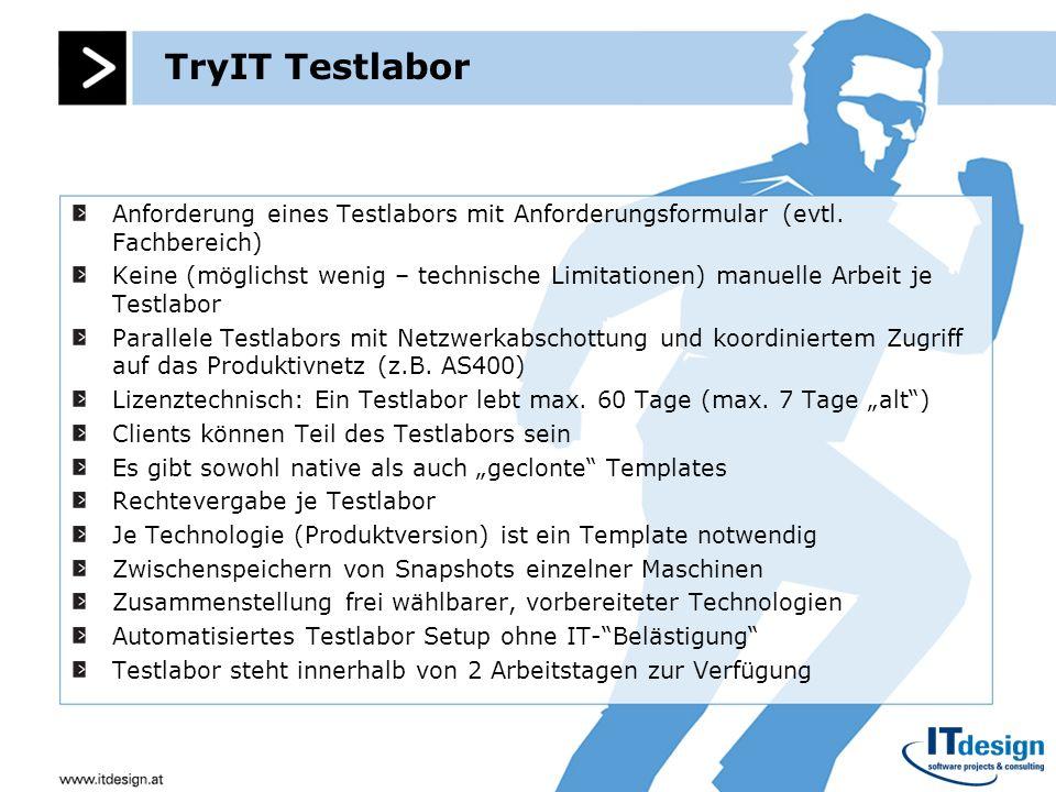 TryIT Testlabor Anforderung eines Testlabors mit Anforderungsformular (evtl. Fachbereich)