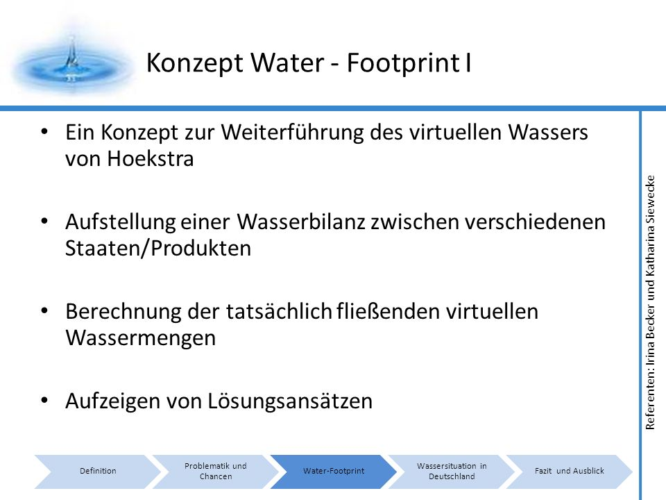Konzept Water - Footprint I