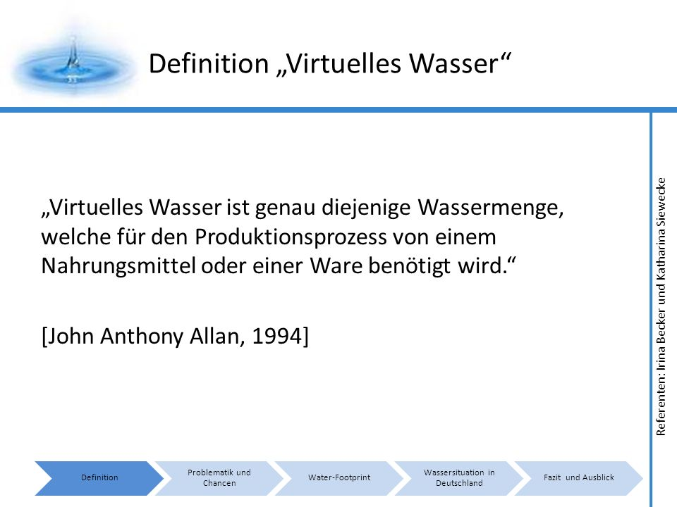 "Definition ""Virtuelles Wasser"