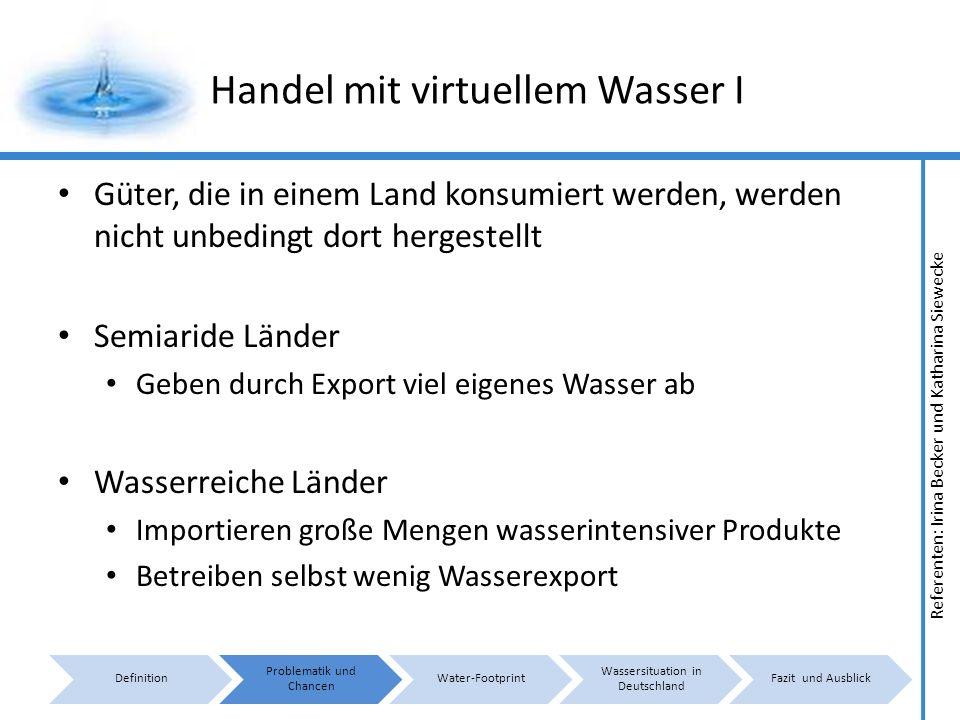 Handel mit virtuellem Wasser I