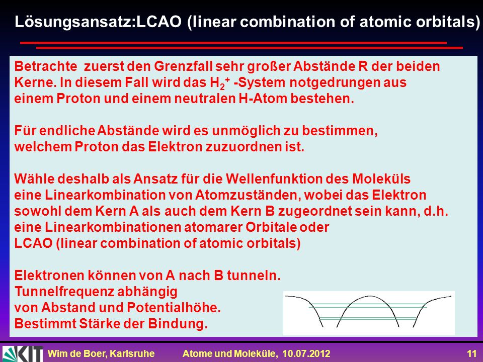 Lösungsansatz:LCAO (linear combination of atomic orbitals)
