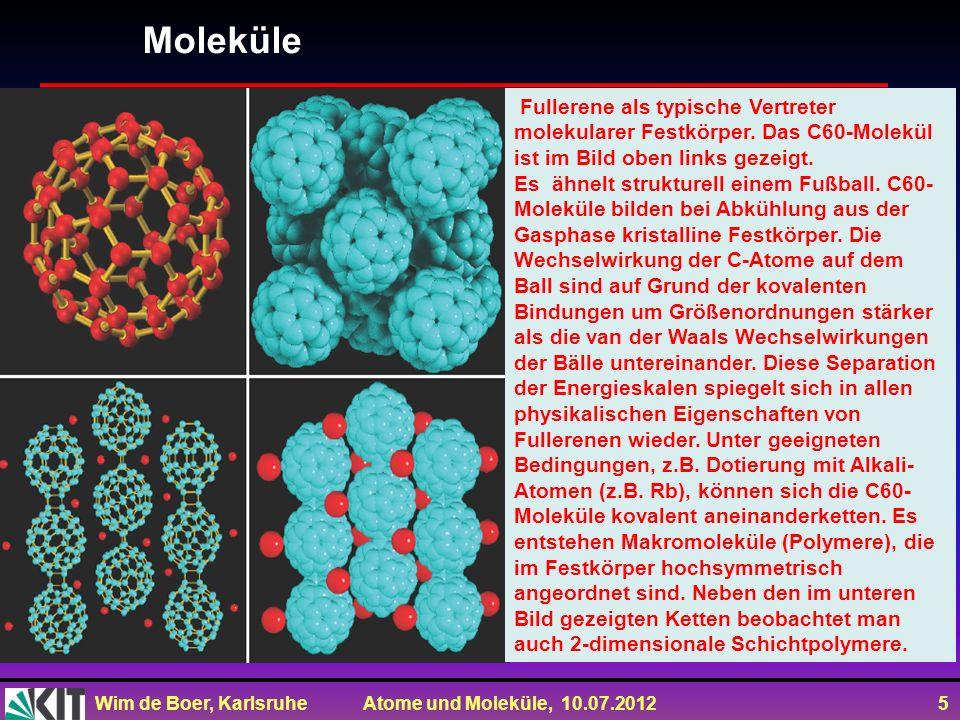 Moleküle Fullerene als typische Vertreter molekularer Festkörper. Das C60-Molekül ist im Bild oben links gezeigt.